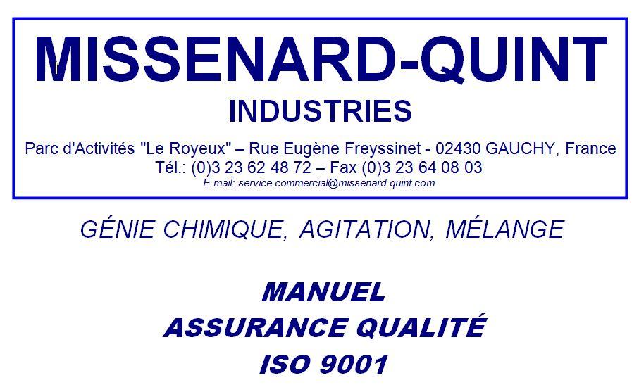 Page de garde du Manuel Assurance Qualité
