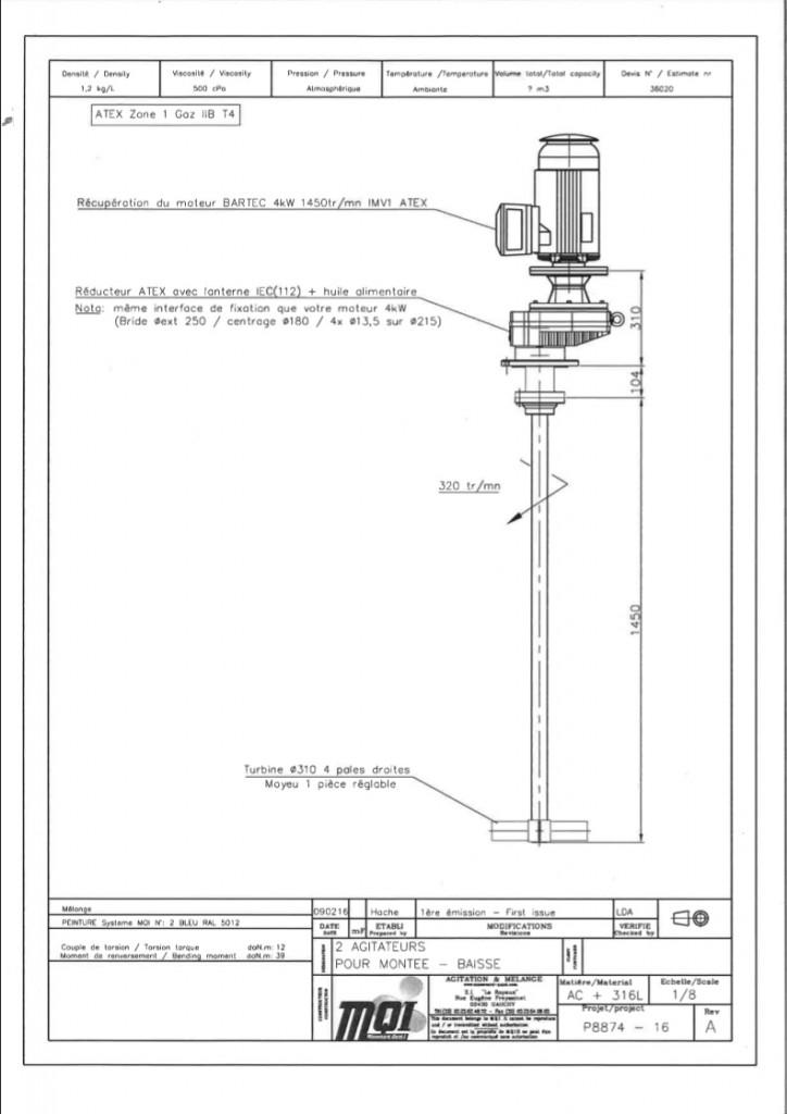 Exemple de plan projet d'un mélangeur industriel